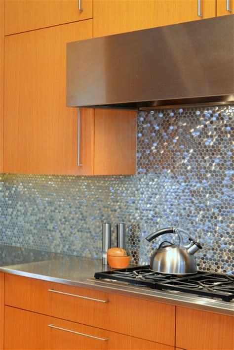 stainless steel sparkles  backsplash contemporary