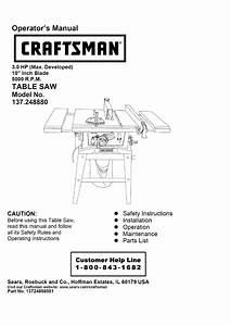 Craftsman 137248880 User Manual Table Saw Manuals And