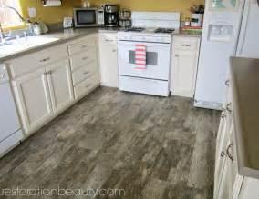 Rustic Wood Tile Flooring in Kitchen