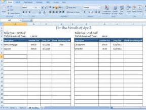 Printable Monthly Bill Organizer Spreadsheet