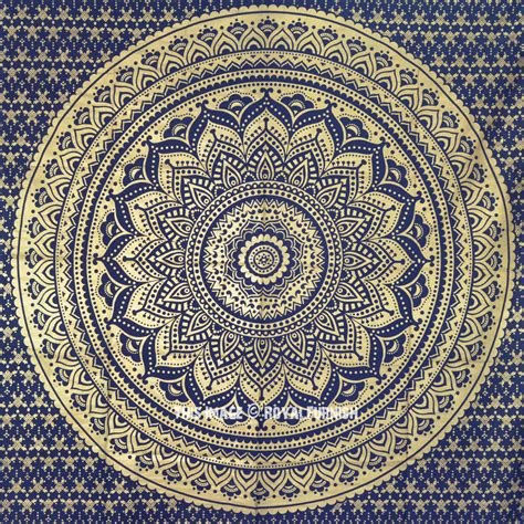 blue sparkly gold classic mandala wall tapestry