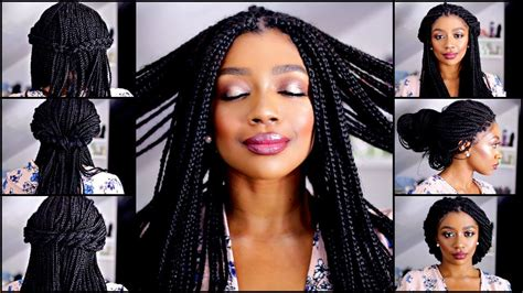 quick  easy box braid hairstyles youtube