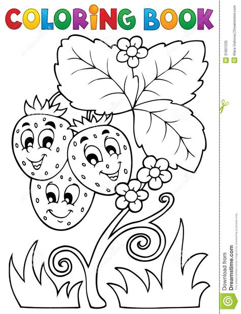 coloring book fruit theme  stock vector illustration