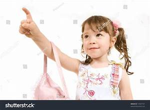 Little Girl Pointing A Finger To Draw Attention Stock ...