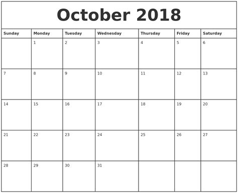 october  printable monthly calendar