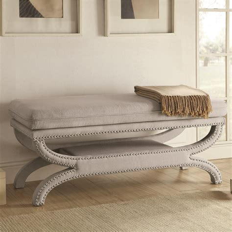 Coaster Benches 500004 Fully Upholstered Light Grey Bench