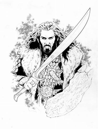 Hobbit Coloring Pages Thorin Adult Tolkien Smaug