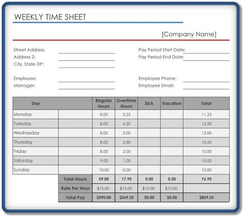 Weekly Timesheet Template Weekly Timesheet Template 5 Free Templates In Excel