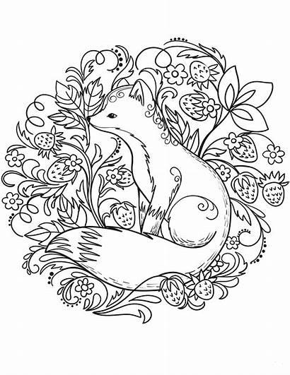 Coloring Fox Printable Animal Sheets Mandala Valentine
