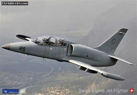 Flying Fighter Jet In The Swiss Alps, L39 Albatros