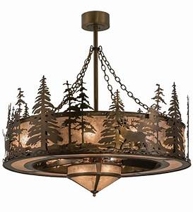 Meyda tiffany elk at dusk antique copper silver mica ceiling fan light fixture mey