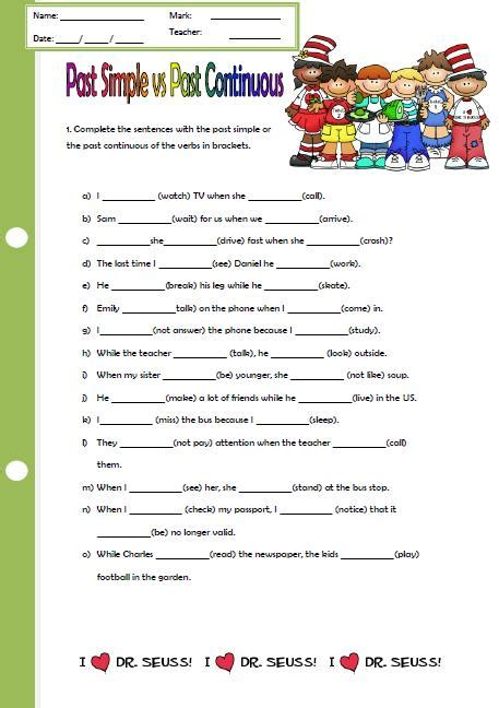 past simple vs past continuous elementary worksheet ii