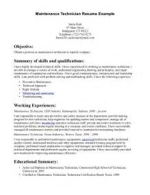 maintenance skills resume maintenance technician resume free resume templates