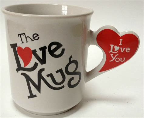 love  coffee tea mug heart shaped handle