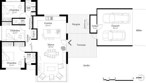 plan de maison 3 chambres plan maison moderne de plain pied 3 chambres ooreka