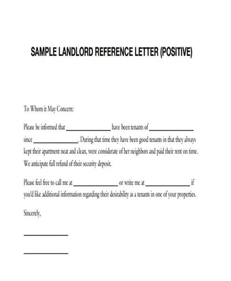 sample personal reference letter  rental application