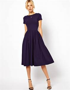 lyst asos midi dress with short sleeves in blue With robe fourreau longue