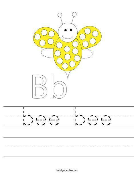 bee bee worksheet twisty noodle    images