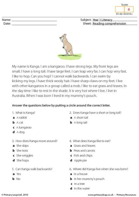 reading comprehension i am a kangaroo primaryleap co uk