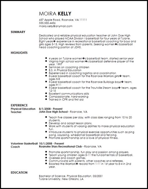 traditional sports coach resume template resume