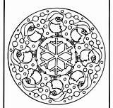 Mandala Coloring Winter Border Corner sketch template