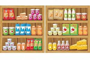 Shelves products in the supermarket ~ Illustrations on ...