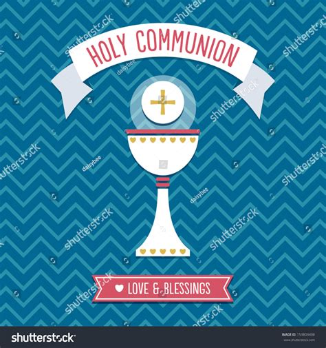 holy communion card template blue stock vector