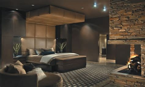 bedroom master  canopy fireplace brick wall  brown
