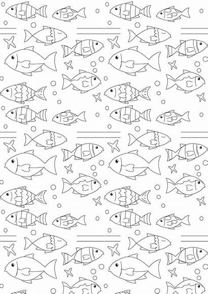 Coloring Paper Printable Nautical Fish Freebie Pages