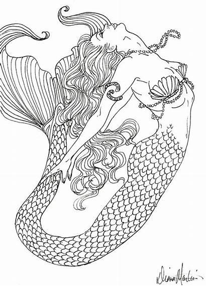Coloring Pages Mermaid Detailed Adults Mermaids Teenagers