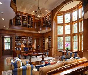 wood paneled library living room traditional with curved