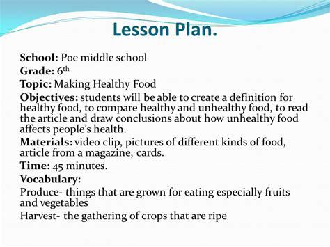 healthy food lesson plans food ideas