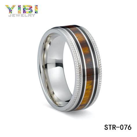 men s wedding bands wood inlay custom stainless steel