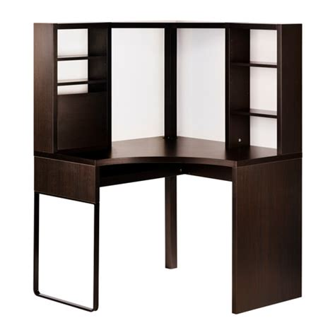 bureau mike ikea micke corner workstation black brown ikea