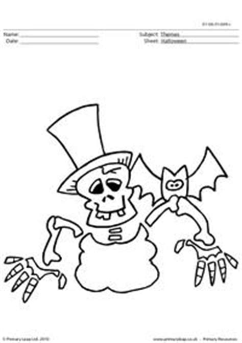halloween colouring picture skeleton