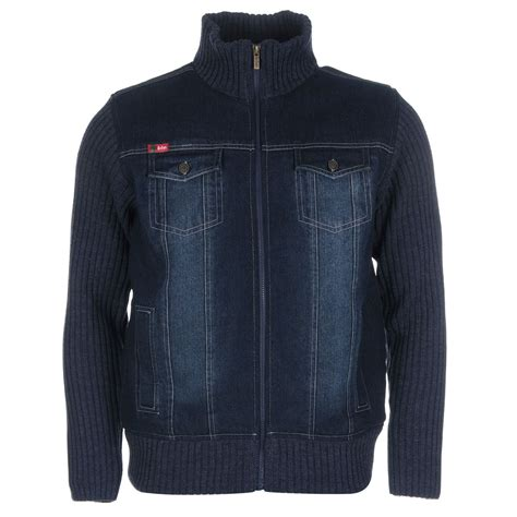Lee Cooper Lined Knit Denim Jackets Outerwear Casual Mens Gents | eBay