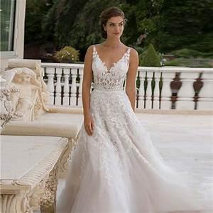 glamorous spaghetti straps v neck lace wedding dresses With lace wedding dress with straps