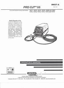 Lincoln Electric Pro Cut 55 Welder Operator U0026 39 S Manual   Copy