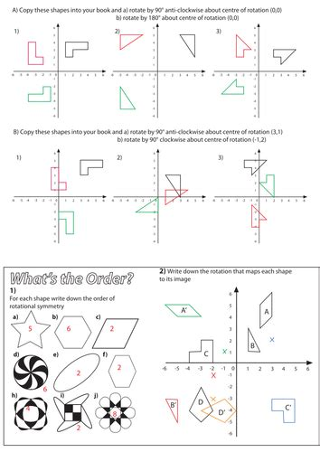 rotation worksheet maths middle school geometry
