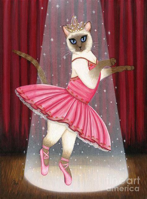 ballerina cat dancing siamese cat painting  carrie hawks
