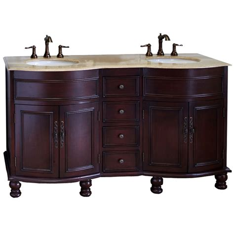 62 Inch Traditional Double Sink Wood Vanity In Bathroom