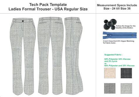 tech pack template ladies yoga leggings usa standard size