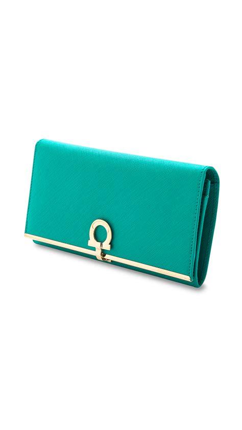 lyst ferragamo gancini icon wallet  green