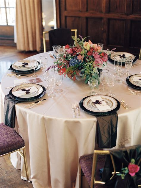 jewel toned  gold reception table inspiration