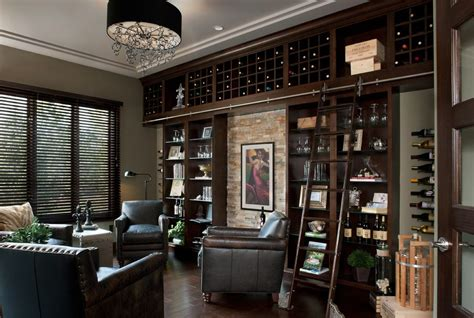 whiskey cellar wine contemporary  library ladder metal