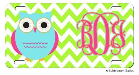 personalized chevron stripe owl lime aqua magenta license