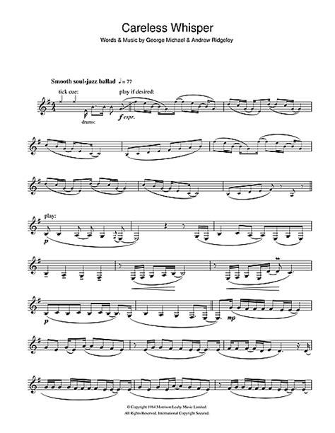 careless whisper sheet music by george michael clarinet