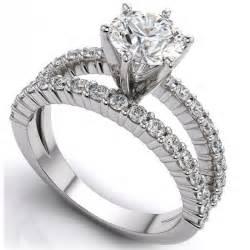 bagues de mariage monture diamant rond brillant 6 griffes or blanc pavage bague de mariage et bague de fiançailles