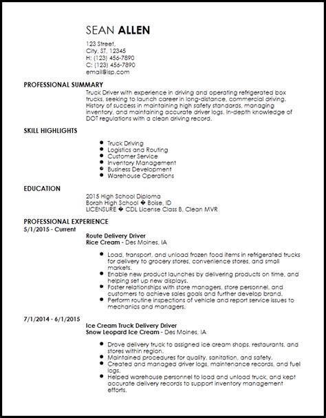 Driver Skills Resume by Resume Of A Driver Driver Resume Exles