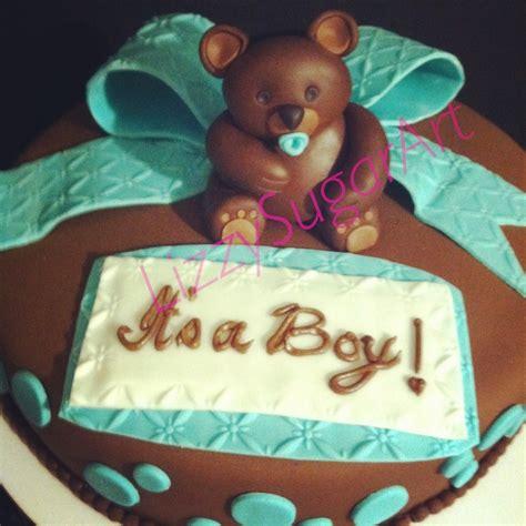 teddy themed baby shower teddy bear theme baby shower cake in brown and aqua blue chocolate fondant by lizzy sugar art